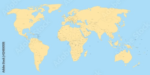 Yellow political world map with black labels of sovereign countries yellow political world map with black labels of sovereign countries and larger dependent territories simplified gumiabroncs Choice Image