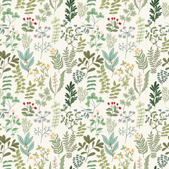 Panel SzklanySeamless pattern of flowers, herbs and leaves