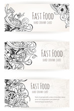 Hand Drawn Background Of Fast Food Elements