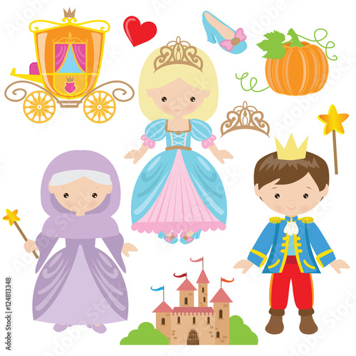 Cinderella vector cartoon illustration Poster Mural XXL