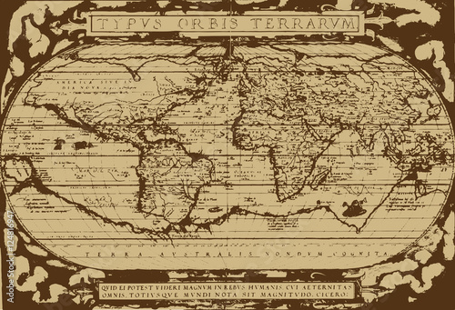 Fotografie, Obraz  Early world map / Abraham Ortelius(1570) [vector]