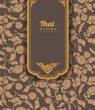 Thai Art Pattern On Brown Background, Flower Style, Thai Pattern Banner.vector Illustration