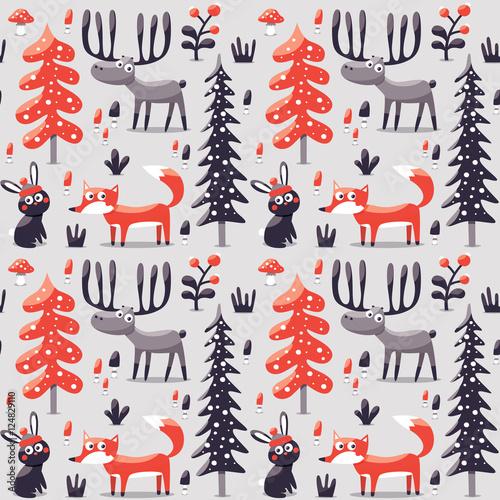 Stoffe zum Nähen Neue nahtlose niedliche Winter Weihnachten Muster gebildet mit Fuchs, Kaninchen, Pilz, Büsche, Pflanzen, Schnee, Baum