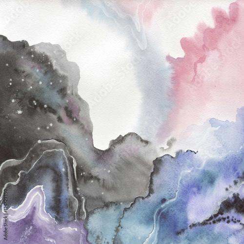 Plakat Abstrakcjonistyczni akwarela papieru pluśnięcia kształty odizolowywali rysunek. Aquarelle streszczenie tło, tekstura, wzór opakowania, ramki lub granicy.