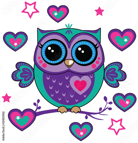 Deurstickers Uilen cartoon cute owl with hearts