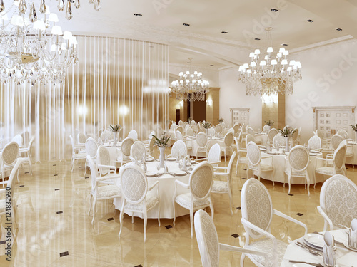 Photo Grand restaurant and a ballroom in a luxury hotel.