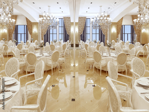 Fotografering Luxurious ballroom, with white tables and large Windows.