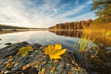 Idyllic Autumn Lake Scenery Wi...
