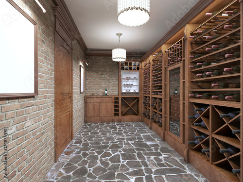 Fotografia  Wine cellar in the basement of the house in a rustic style.