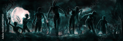 Photo  Banner with zombies silhouettes