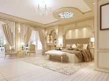 Luxurious Bedroom In Pastel Colours In A Neoclassical Style.