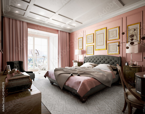 Master bedroom with modern design with pink and brown. 3d illust ...