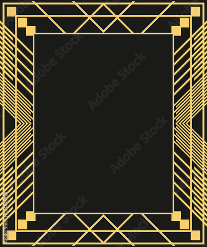 Photographie  Art Deco geometric border on dark background.