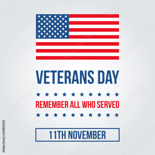 Veterans Day Card With American Flag Template Background