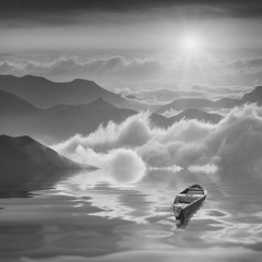 Plakat High mountains sunrise. Black and white