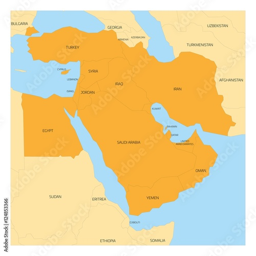 Map Of Asia Yellow Sea.Map Of Middle East Or Near East Transcontinental Region With Orange