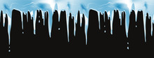 Icicles Realistic Winter Seamless Vector Border For Christmas Design. Natural Dripping Icicles Hanging Down From A Roof On A Black Background