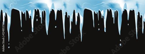 Fotografía Icicles realistic Winter seamless vector border for christmas design