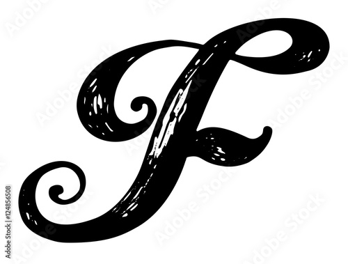 Letter F Calligraphy Alphabet Typeset Lettering Hand Drawn Capital And Lower