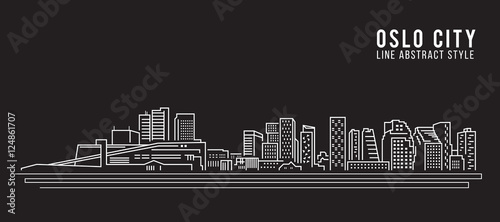 Photo Cityscape Building Line art Vector Illustration design - Oslo city