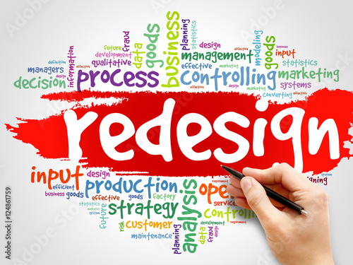 REDESIGN word cloud collage, business concept background Fototapet