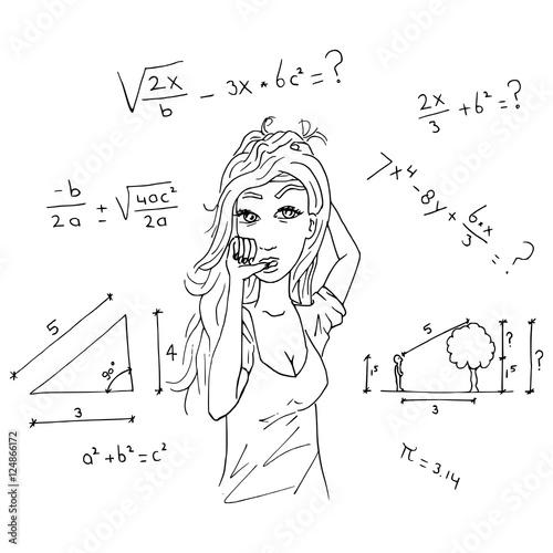 Foto  Meisje snapt niets van wiskunde toets