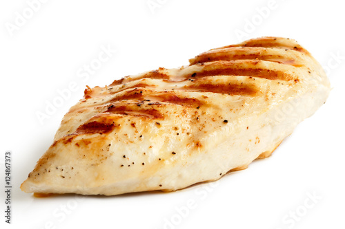 Foto op Aluminium Kip Whole grilled chicken breast with black pepper isolated on white.