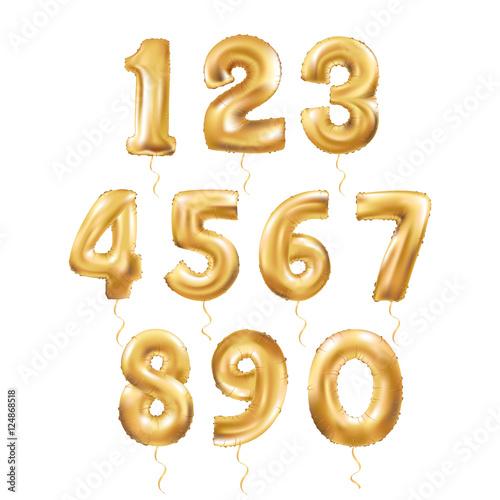 Fotografía Metallic Gold Letter Balloons 123