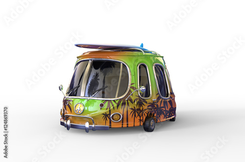 Staande foto Cartoon cars 3D illustration of funny colored family car with surfboard on the roof, holiday transport, travel, hippy pacific sign, white background, funny cartoon hippie car, palm trees pictures