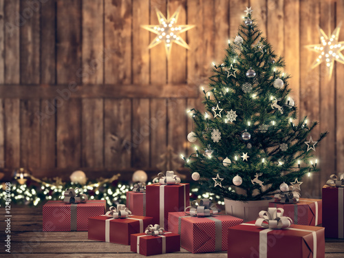 Fotobehang Bomen beautiful gift with Christmas tree. 3d rendering