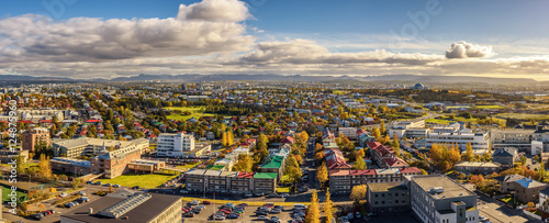 Obraz na plátne Panorama of Reykjavik in Iceland viewed from above