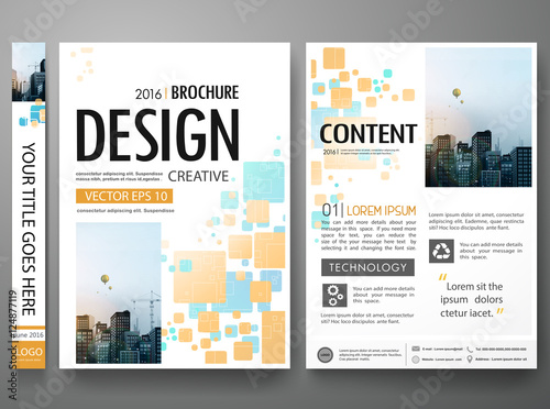 3d brochure design - brochure design template vector blue orange abstract