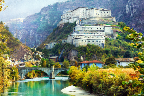 Photo sur Aluminium Fortification Amazing castles of Valle d'Aosta- Bard fortress, north Italy