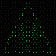 Abstract Vector Dark Background With Green Biohazard Symbol Silhouette.