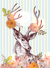 Naklejka Boho hand drawn deer