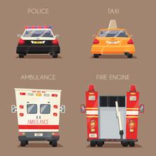 Police, Taxi, Ambulance Car And Firetruck. Vector Cartoon Illustration