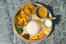 Traditional Nepalese Food - Thali (dal Bhat) In A Restaurant.  Overhead View. Selective Focus.