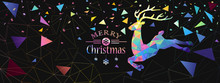 Christmas Illustration With Color Deer