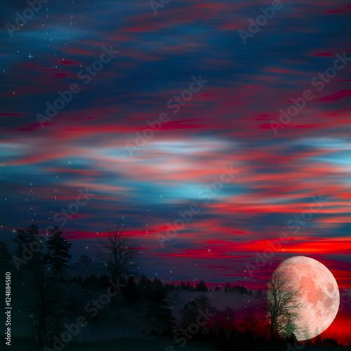 Foto op Plexiglas Crimson Beautiful landscape.