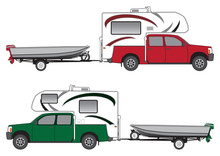Pickup With Camper Is Pulling Boat On Trailer In Two Different Color Schemes