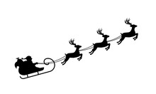 Isolated Silhouette Of Santa's...