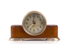 Old Table Clock On A White Background