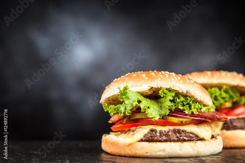 Fotobehang Restaurant Delicious grilled burger