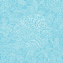 Frosty Blue Pattern On Glass. Linear Circular Seamless Pattern. Abstract Illustration On Wrapping Paper.