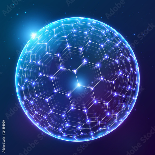 Obraz Blue vector shining sphere with hexagonal surface on dark cosmic background - fototapety do salonu