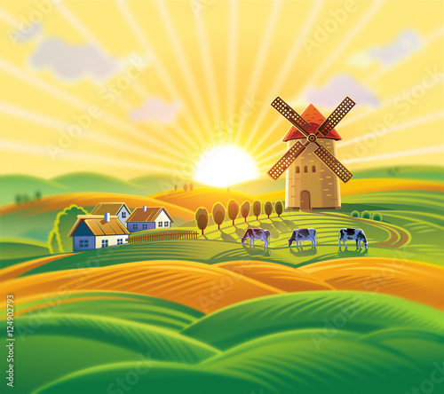 Tuinposter Zwavel geel Rural landscape with a windmill, village and herd cows on the background of sunset.