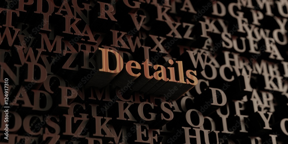 Fototapety, obrazy: Details - Wooden 3D rendered letters/message.  Can be used for an online banner ad or a print postcard.