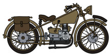 Hand Drawing Of A Nvintage Olive Military Motorcycle