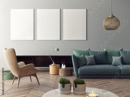 Fotografía  mock up poster with vintage hipster loft interior background, 3D rendering