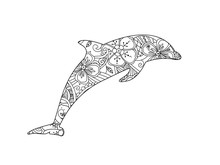 Coloring Page With Dolphin Iso...